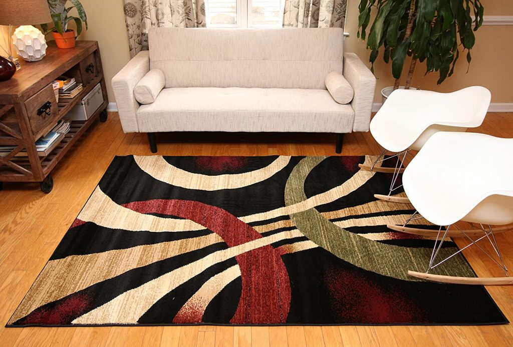 Feraghan New City Contemporary Modern Wavy Circles Area Rug.
