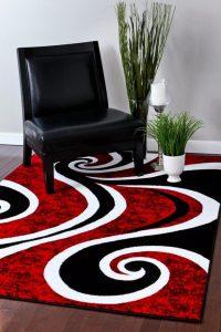 Red Black Swirl White Area Rug Carpet.