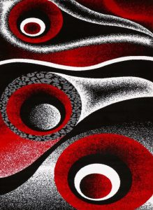 Red Black White Area Rug Abstract Carpet.