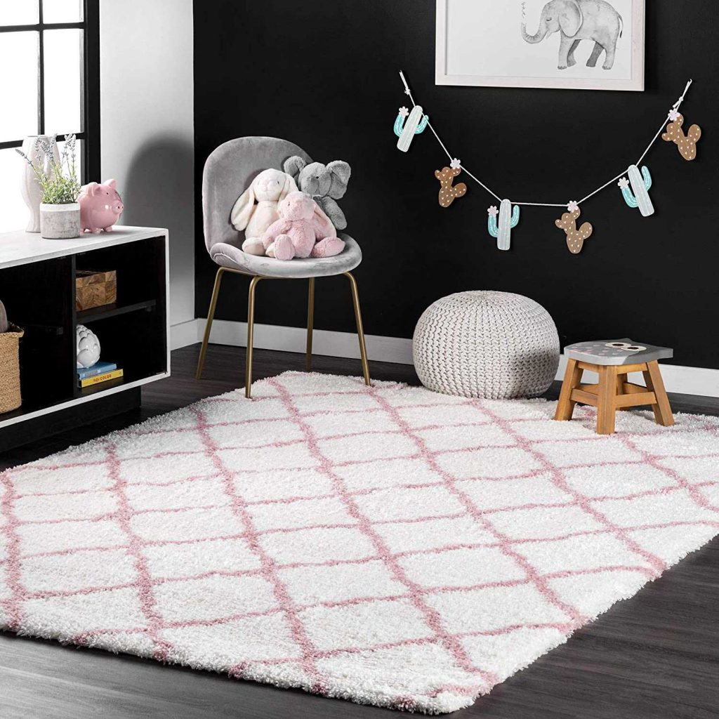 Best for Girls - nuLOOM Nelda Trellis Shag Area Rug Baby Pink