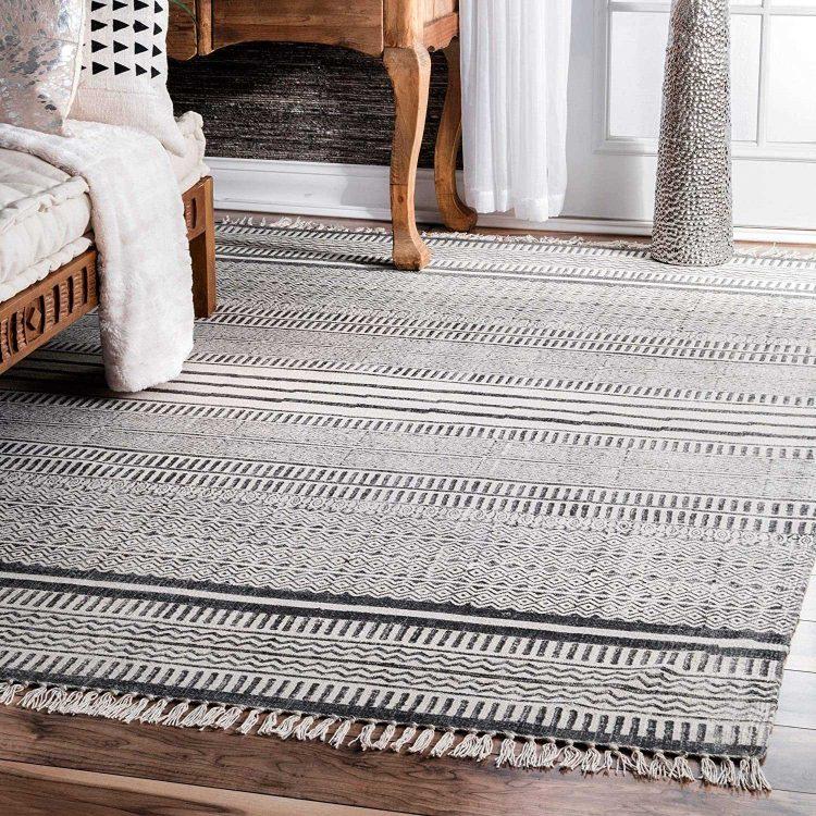 Safavieh Handmade Flatweave Grey and Ivory Organic Cotton Area Rug